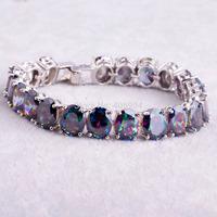 """Wholesale Fashion Lady's 925 Silver Bracelet  Noble 7.48"""" Oval Cut Rainbow Topaz 925 Silver Bracelets"""
