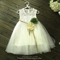 Flower Belt  white dress for girls,baby girl white child dress, 2014 summer fashion children kid apparel,wholesale 5 pcs/ lot