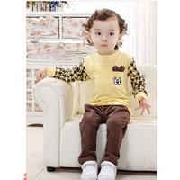 2014 Autumn Baby Boy Clothing Set Boy Long Sleeve T-Shirts and Pants Set Boy Clothes Baby Set Free Shipping 1set NYT-1406