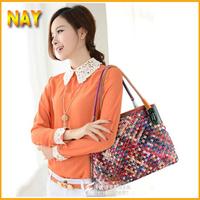 New 2015 New Genuine Leather Women Messenger Bags Woven Knitting Handbag Women Bag Fashion Bags Tote Free Shipping