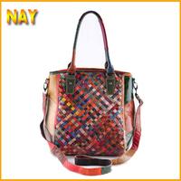 New Satchel Genuine Leather Colorful Woven Handbag Cross Body Ladies Shoulder Bags