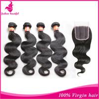 mslulaで髪クロージャー5個ロット4ブラジルの髪の束でフリーの部分を閉鎖ブラジルの未処理のバージン毛のボディ波