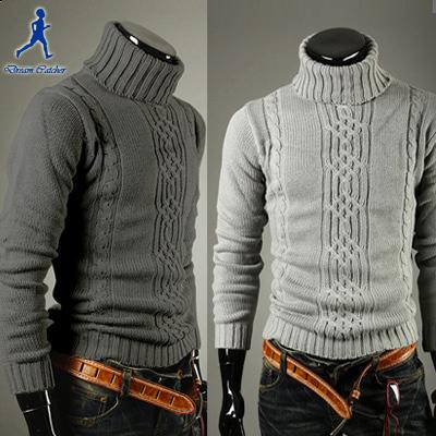 Free Shipping! 2015 New Arrival Korean Version Warm Sweater Men Slim Turtleneck Heaps Collar Knit Pullover Black Grey M-5XL(China (Mainland))