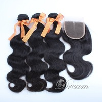 Virgin Hair Weft and Closure Body Wave Unprocessed Peruvian Human Hair Extensions Medium Part  4*4 Top Lace Closure 4pcs/lot