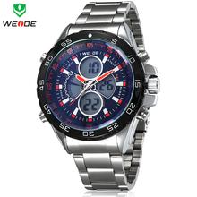 Mens reloj deportivo marca de lujo WEIDE del acero inoxidable completa moda reloj del cuarzo militar de múltiples funciones Waterproofed relojes
