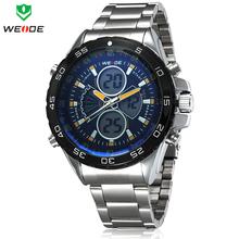Marca de lujo WEIDE relojes deportivos de acero completo Dual Time cuarzo LED Digital multifunción subida de la nadada para hombre de buceo militar reloj de pulsera