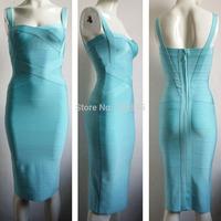 2014 new baby blue strap women fashion sexy elegant midi bandage party evening Dresses  J543  below knee