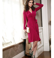 2014 Autumn New Vintage Women Natural Color Pinched Waist V-Neck Dress Vestidos with Sashes, Red, S, M, L