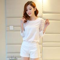 Temperament Lady Organza Splicing Solid Color Spring Blouse Korean Three Quarter Sleeve Chiffon Tops For Women 6802
