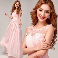 Pink chiffon beaded flowers Bridesmaid dresses 2014 summer new fashion style plus size long vestido de madrinha real sample 8237