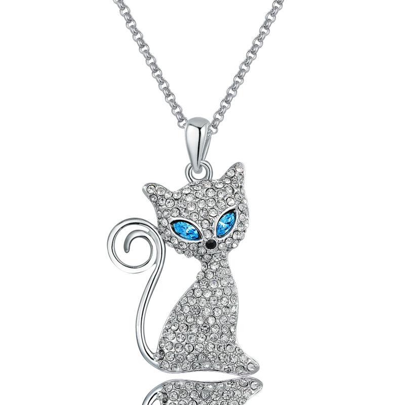 "Ninabox Cat Shaped ""Miss Kitty"" 18k White Gold Plated Pendant Necklace Genuine Austrian Crystal Women Jewelry Gift,NAG2689B(China (Mainland))"