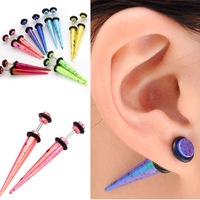 2Pairs /Lot Acrylic Taper Spike Fake Cheater Illusion Ear Studs Plugs Earrings Free shipping