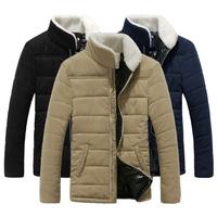 2015 New Winter Coat Men's Warm Jacket Slim Lambs Wool Collar Cotton-Padded Casual Jacket