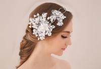 Handmade Crystal Bridal Headband Head Jewelry Rhinestone Wedding Hair Jewelry Pearl Lace Head Piece Headwear Headdress WIGO0318