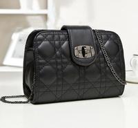 bolsa de franja 2014 vintage plaid women messenger bags classic small shoulder bag fashion mini black white chain cross-body bag