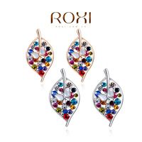 2015 NEWEST ROXI Brand  Big Sales Item earrings for women Crystal Leaves Colorful Earrings Accessories Rose Gold Plated Jewelry