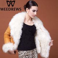 Women's Genuine Sheepskin Shearling Lamb Fur Coat Double-faced Fur & Leather Jacket 2014 Winter Thick Warm Fur Outerwear Garment