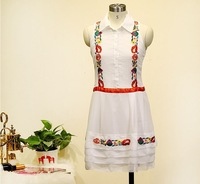 H&Q 2014 new runway brand summer fashion women vintage elegant sleeveless embroidery patchwork one piece dress S,M,L