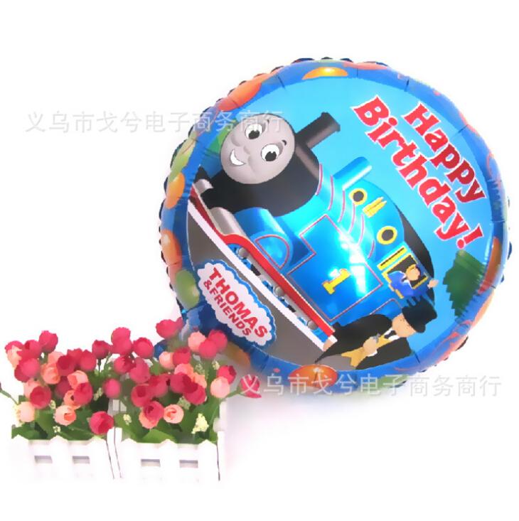 2014 New 20pcs/lot 18inch Cartoon Metallic Birthday Decoration Blue Thomas Friends Foil Balloon Kids Party Supplies Foil Ballon(China (Mainland))