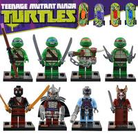 New super hero 8pcs/lot DIY skateboard Teenage Mutant Ninja Turtles Plastic Learning&Education Building Block Set SY176