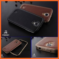 Luxury galaxi S4 Aluminum metal Frame + Genuine leather Back Cover phone Case For Samsung Galaxy S 4 S IV I9500 bags cases
