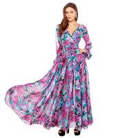 2014 NEW ARRIVAL HOT SALE!Milla Women Bohemian Tropical Rainforests Purple Flower Printed Long-sleeved V-neck Maxi Dress