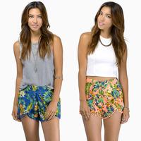 2014 NEW ARRIVAL HOT SALE!Milla Women Summer Chiffon Rainforest Printed Shorts Elastic Waist Lace Hem Shorts
