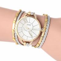 2014 New Fashion Korea Rope Watch Braided PU Leather Cord Bracelet Watch Wrap Lady Watch Women Rhinestone Watch