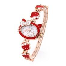 Hello Kitty Watches Fashion 2015 New Ladies Quart Watch Vintage Kids Cartoon Wristwatch Analog King Girl Brand Clock women 2015(China (Mainland))