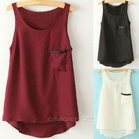 2014 Special Offer Summer New 3 Colors Asymmetric Round Neck Women T Shirt Womens Pocket T-shirt Women's Tank Tops S-XXL FE3112