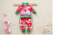 Baby boys crown striped autumn fleece cotton velvet tracksuits solid color top jacket outerwear+long trousuers sportsuits