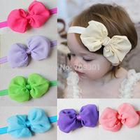 "4"" chiffon bows headband girls bows headband baby bows headband 20 colors free shipping"