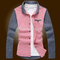 Men's striped long-sleeved shirt,High quality British Korean men's fashion simple casual shirt