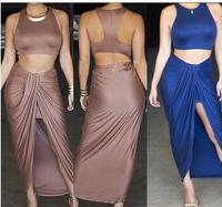 Fashion Two Pieces Bandage Dress Sexy Women Clothing 2014 Summer Slim Celeb Bodycon Dress Bandage Prom Cotton Girl Dresses