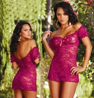 2014 New Lace Flowers Sexy Erotic lingerie langerie Costumes Babydolls Women Sex Off Shoulder Nightdress Lace Dress +G String
