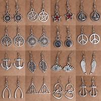 (Min order $10) Hot Sell Retro Tibetan Silver Earrings Pentagram Fashion Vintage Earrings For Women 2014 NEW Jewelry