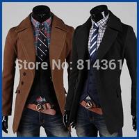 2014 New Fashion Winter Jacket Men Trench Coat Famous Brand Wool Windbreaker Manteau Homme Outdoors Mens Pea Coat Free Shipping