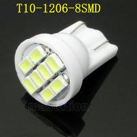 4pcs/lots T10 8 SMD 194 168 192 W5W 1206 Auto LED Car Light White 3020 Wedge Light Bulb Lamp CL108