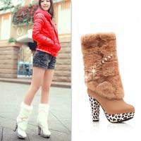 Womens Winter Snow Boots For Plus Size Women Platform Botas Femininas Female Rhinestone Shoes High Heels Salto Alto Free Shippin