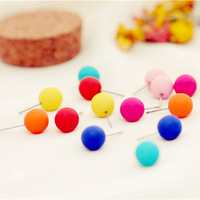 Free shipping!10pair/lot korean style fluorescent candy colored frosted ball earrings fashion stud earrings 1CM