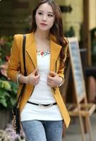 2014 New Women Blazer celebrity style biker style asymmetrical zipper blazers suit fits pideak pideak plus size women's jacket