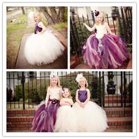 2014 Girl Party Dress Ivory Stain Mix Color Train Tulle Girl Flower Dress Kids Girl Tutu Dress For Evening Birthday Festival