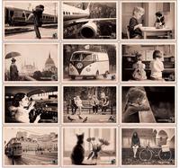 36 pcs/lot Free Shipping black and white Retro photo Greeting postcards Horizontal version Thanksgiving theme Packed cards