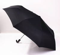 Black Men's Automatic curved handle normal size umbrella, three folding sunny and rainly windproof
