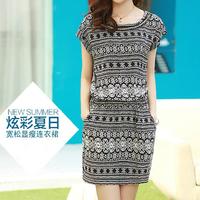 Bestsellers !! free shipping summer 2014 new Casual print Chiffon Dress High-grade Stretch waist Loose plus size short dress