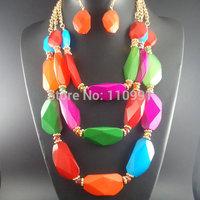New Bib Neon Chunky Choker Ethnic Beaded Handmade Resin Bead Statement  Necklaces Chain Jewelry Sets For Women