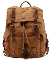Vintage Korean style Men Military canvas Leather backpack men hiking backpacks boy canvas school backpacks sports traveling bag