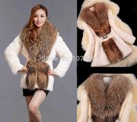 2014 Lady Fashion Natural Rabbit Fur Coat Jacket Raccoon Fur Collar Winter Women Fur Trench Outerwear Coats Clothing VK1477