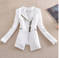 2014 New Women Blazer celebrity style biker style asymmetrical zipper blzaers suit fits pideak pideak plus size women's jacket