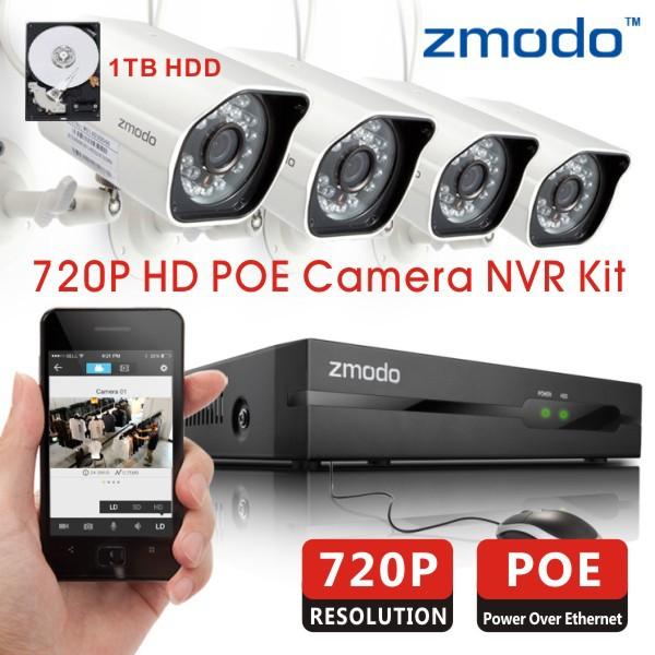 Система видеонаблюдения Zmodo 4/720P POE NVR 4 720P IP 1 hdd ZM-SS714-1T система видеонаблюдения anran 3 hdd 8ch nvr 2 wifi ip 1080p hd ar ap2ga ip wifi nvr